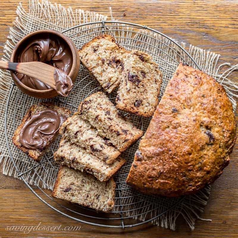 A sliced loaf of chocolate hazelnut bread with Nutella