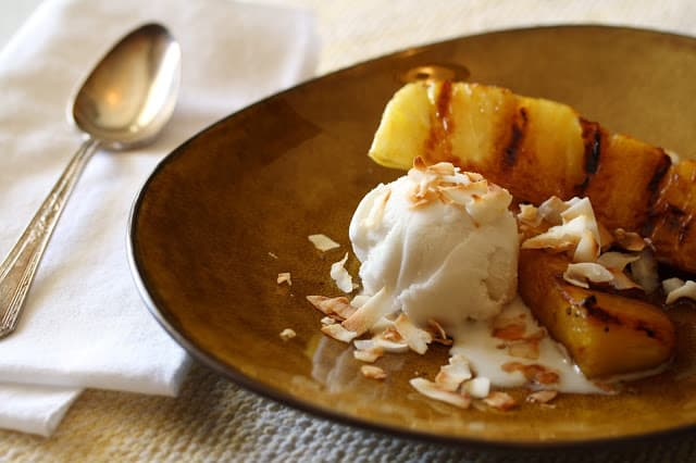 Coconut Sorbet with Grilled Pineapple