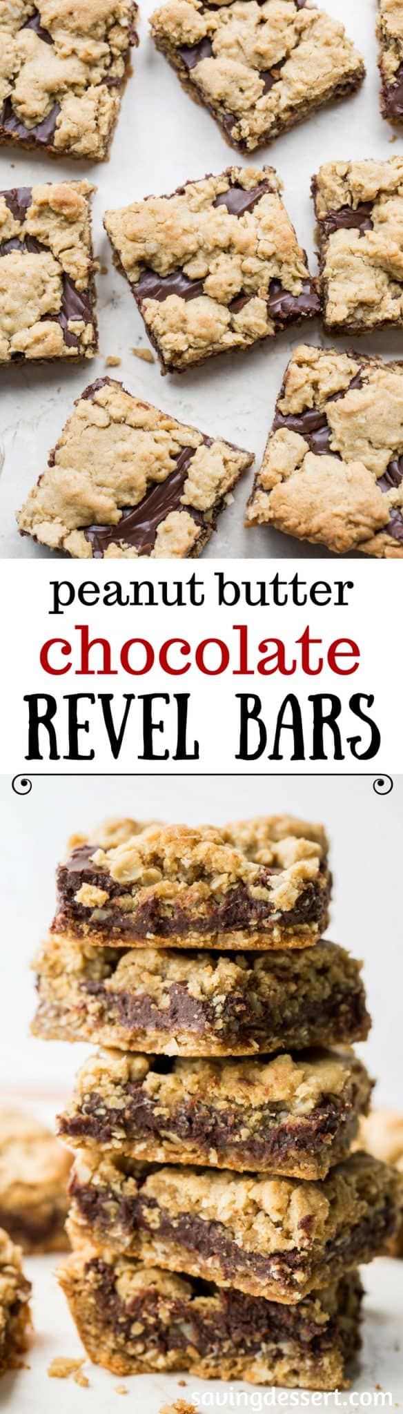 Chocolate Peanut Butter Revel Bars ~ delicious cookie bars loaded with oats, are easy to make, travel well and taste delicious! www.savingdessert.com