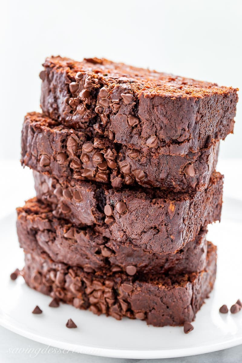 A stack of sliced chocolate zucchini bread