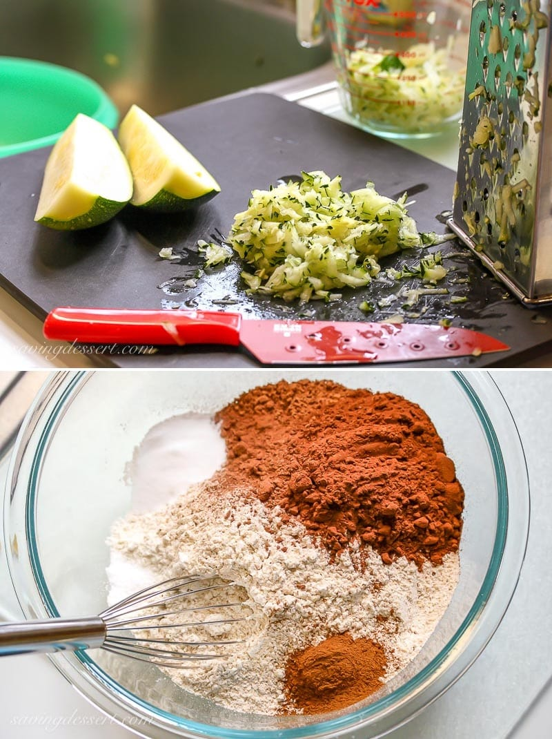 A collage of photos showing the ingredients needed to make Chocolate Zucchini Bread
