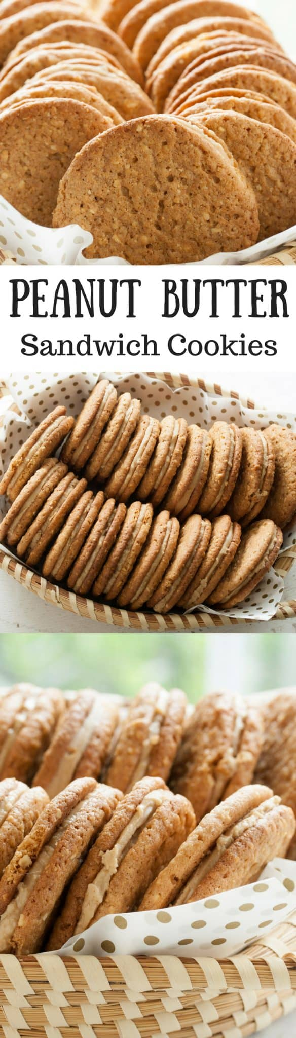 Peanut Butter Sandwich Cookies ~ What does it take to make a perfect peanut butter sandwich cookie? These cookies have just the right about of crispy crunch without crumbling, and a smooth, sweet, creamy filling that doesn't ooze out the sides when you take a bite. And these Peanut Butter Sandwich Cookies have a robust peanut flavor. It is perfectly delicious. www.savingdessert.com | peanut butter cookies | peanut butter sandwich cookies
