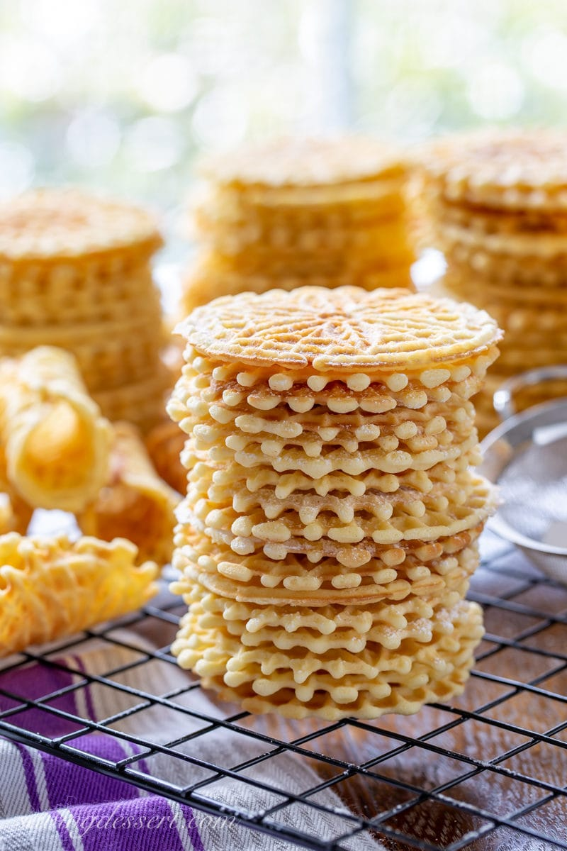 A stack of anise flavored pizzelle cookies