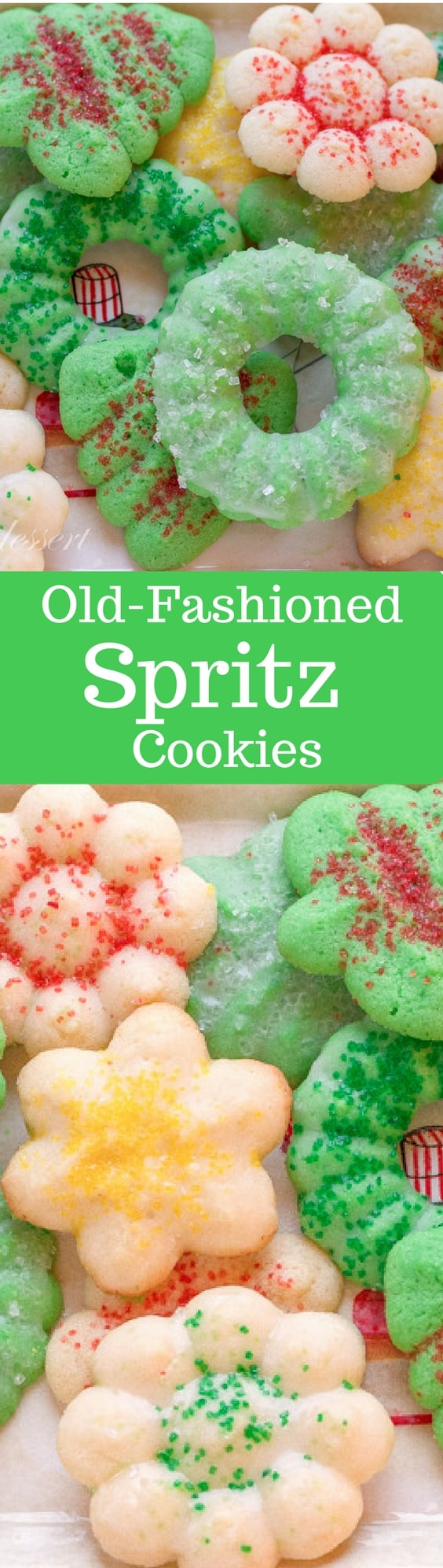 Old-Fashioned Spritz Cookies - a delicate, yet crisp, little cookie with a deep buttery flavor and a hint of almond. www.savingdessert.com