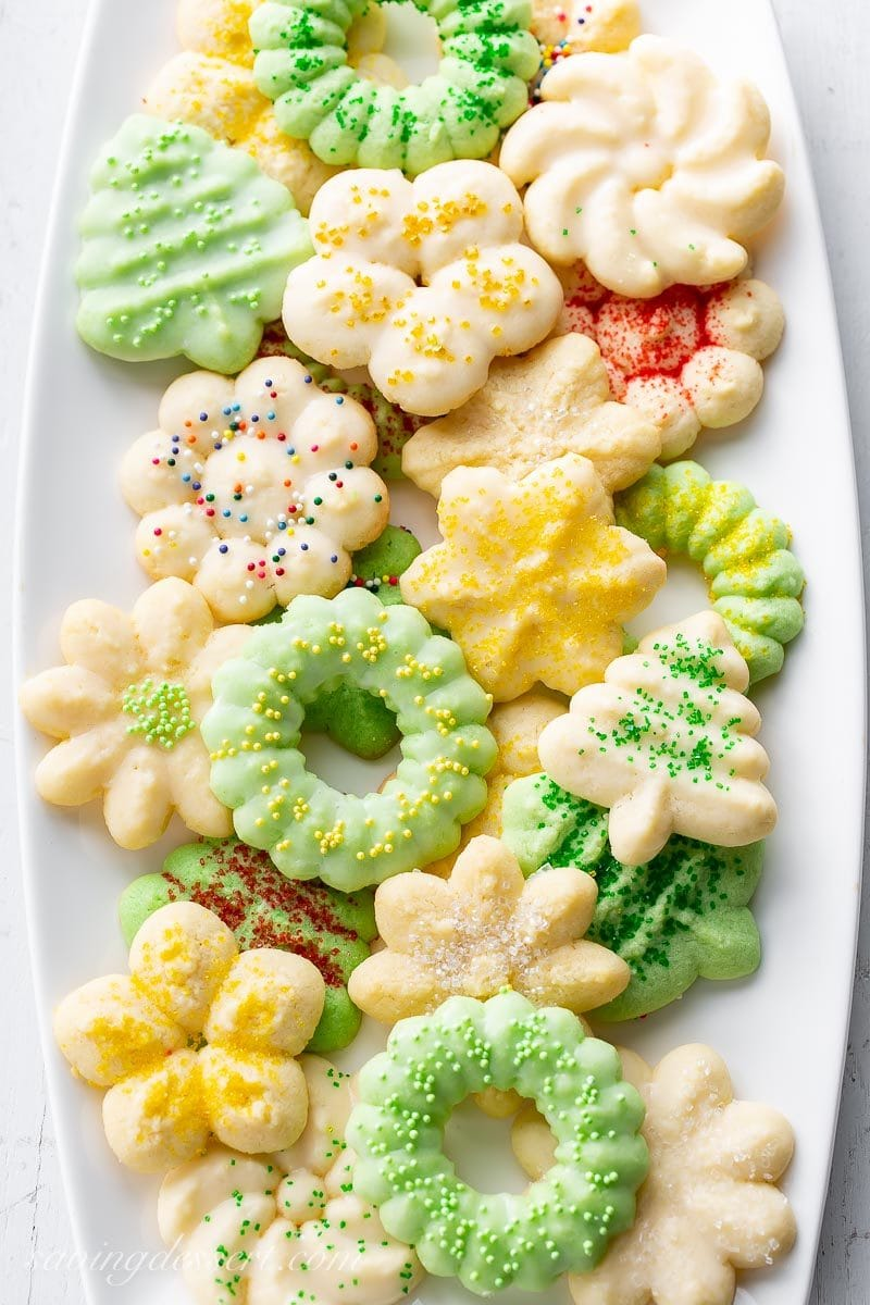 A platter of pretty Spritz cookies topped with sprinkles