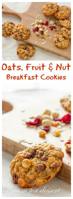 Oats Fruit and Nut Browned Butter Breakfast Cookie - a perfect grab and go, wholesome, homemade breakfast | www.savingdessert.com