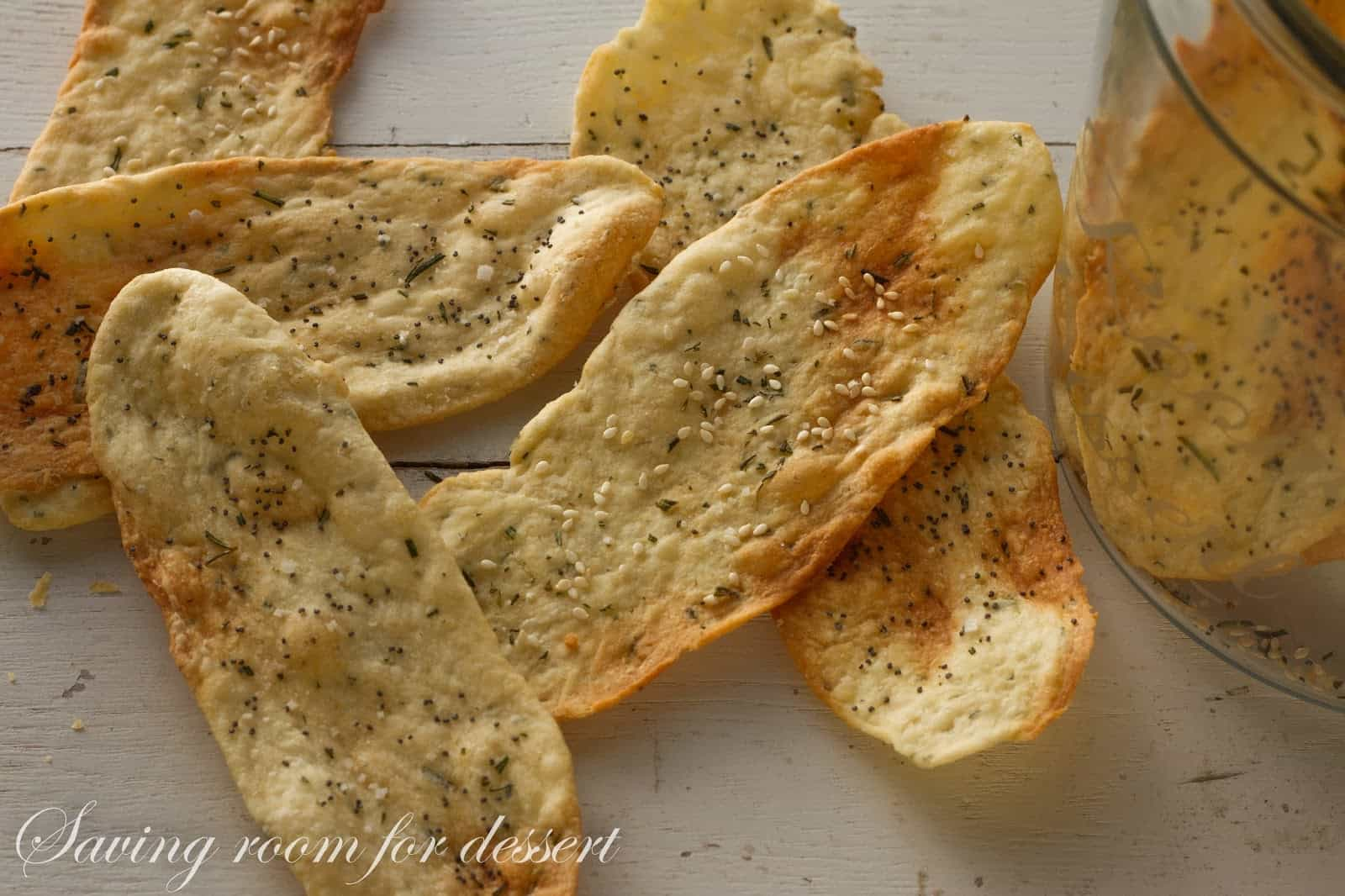 Crisp Rosemary Flatbread Crackers - Saving Room for Dessert
