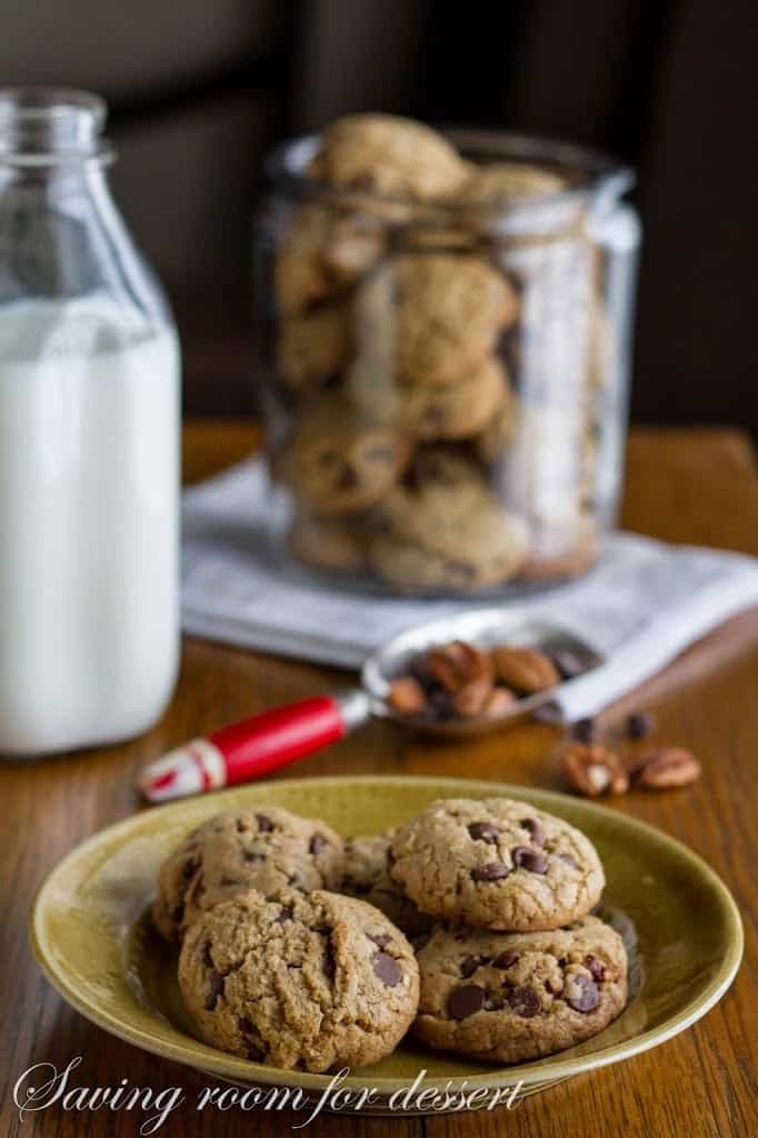 Chocolate Chip Cookies with oats, pecans and browned butter