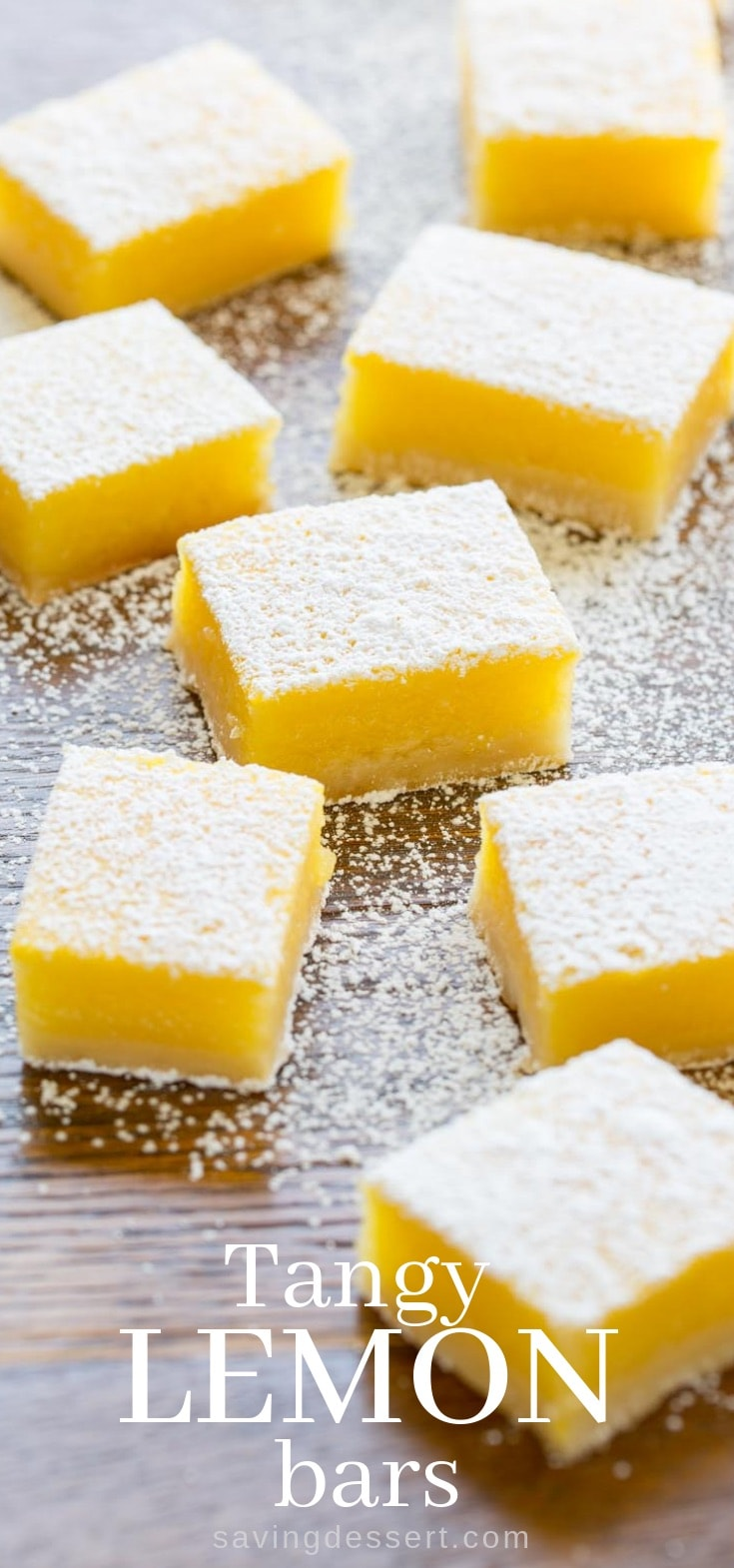 Tangy Lemon Bars ~ Tangy, tart, sweet, and creamy, with an incredible texture and a delicious shortbread crust. #lemonbars #tangylemonbars #easylemonbars #lemon #shortbreadcrust