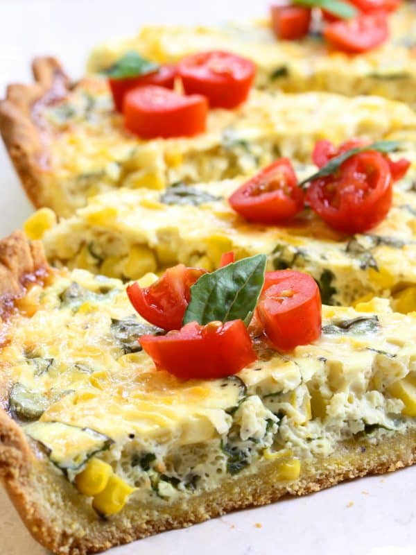 Fresh corn and basil tart