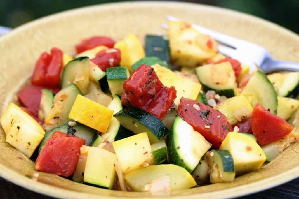 """I saved room for dessert this calendar week simply wouldn Baked Squash, Tomatoes, Onions as well as Potatoes """"Garden to table"""""""