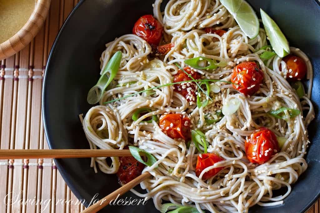 Roasted Tomatoes amongst Soba Noodles in addition to scallions tossed amongst a ginger Miso-Roasted Tomatoes amongst Soba Noodles