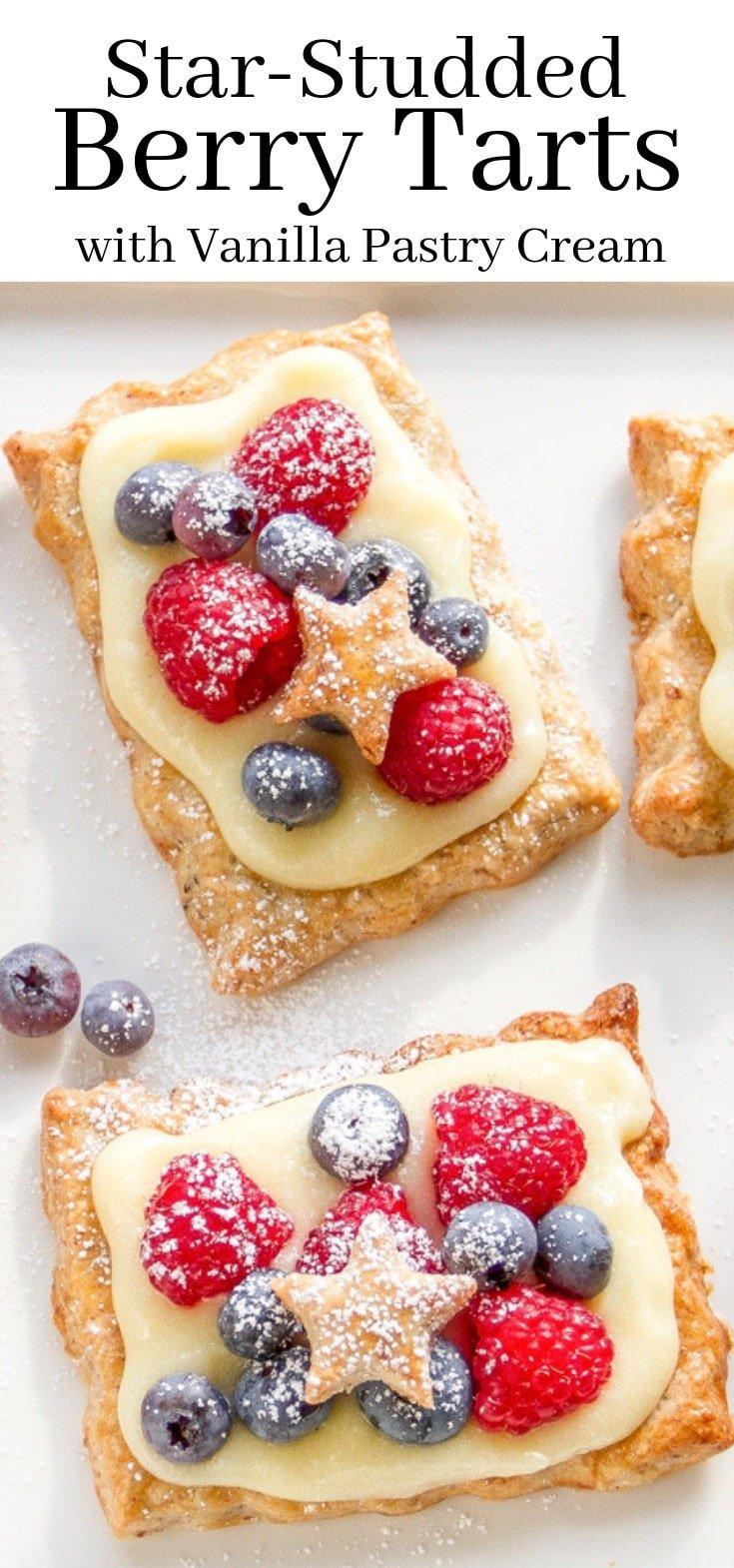 Flaky tarts with vanilla pastry cream and fresh summer berries