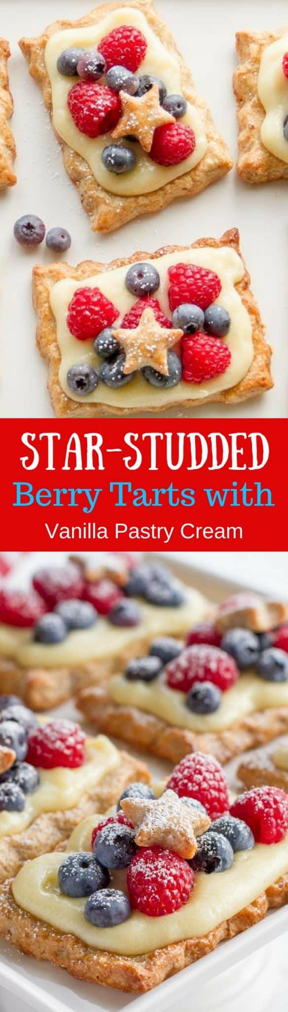 Star-Studded Berry Tarts with Vanilla Pastry Cream / www.savingdessert.com
