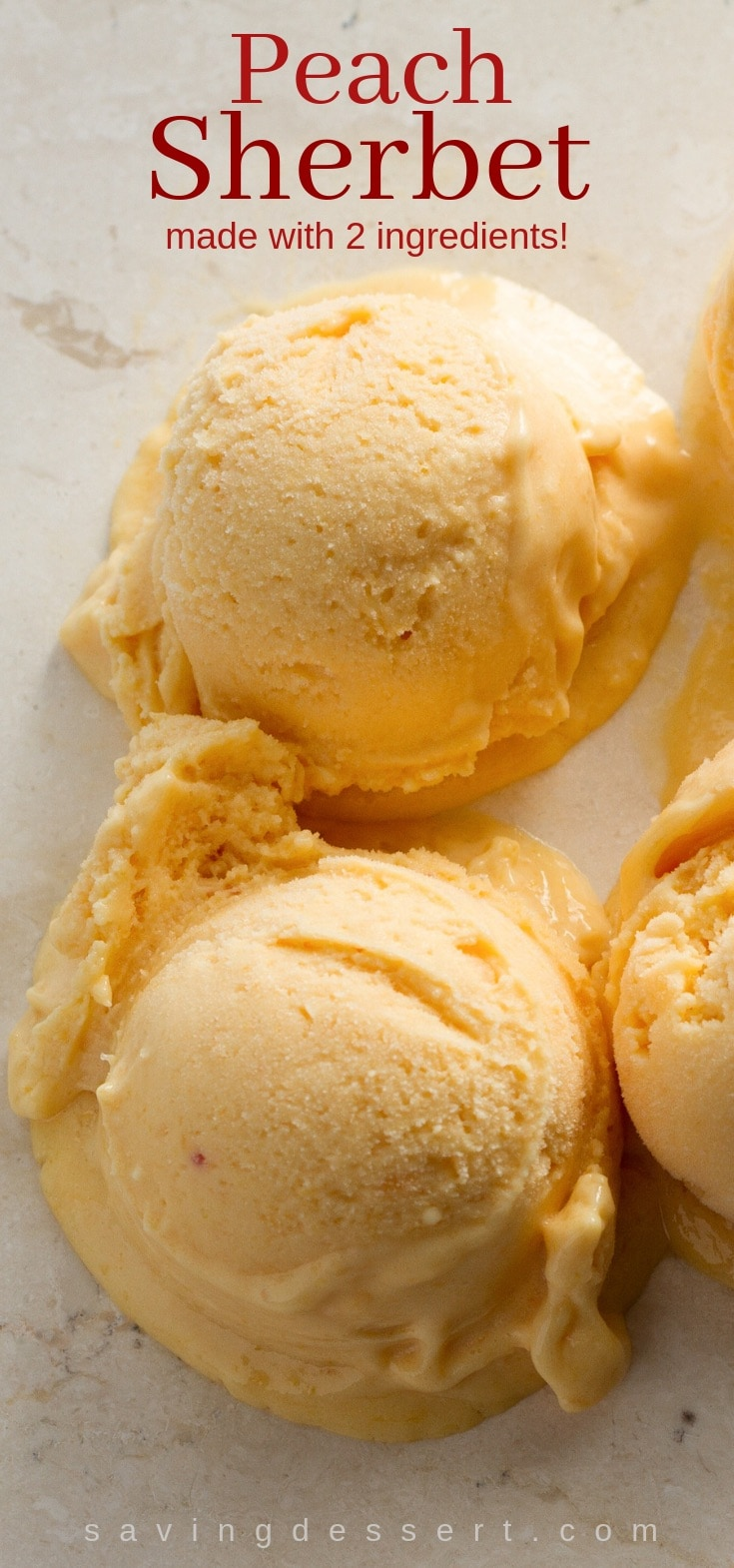 Scoops of frozen peach sherbet