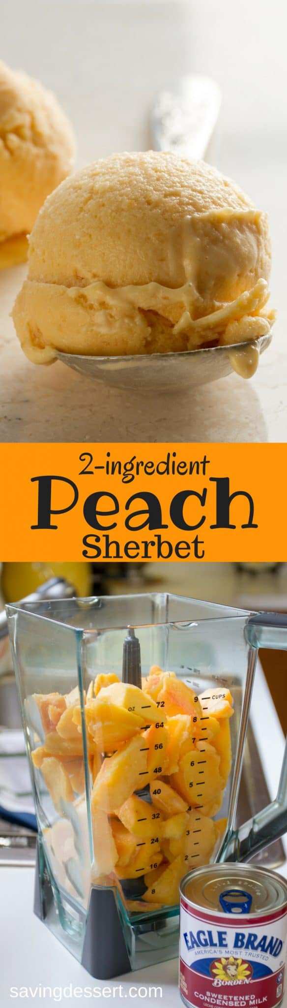 Peach Sherbet - a creamy, delicious, velvety smooth fresh peach dessert - made with only two ingredients right in your blender! #peach #sherbet #sorbet #icecream #peachicecream #peachsherbet #frozentreat