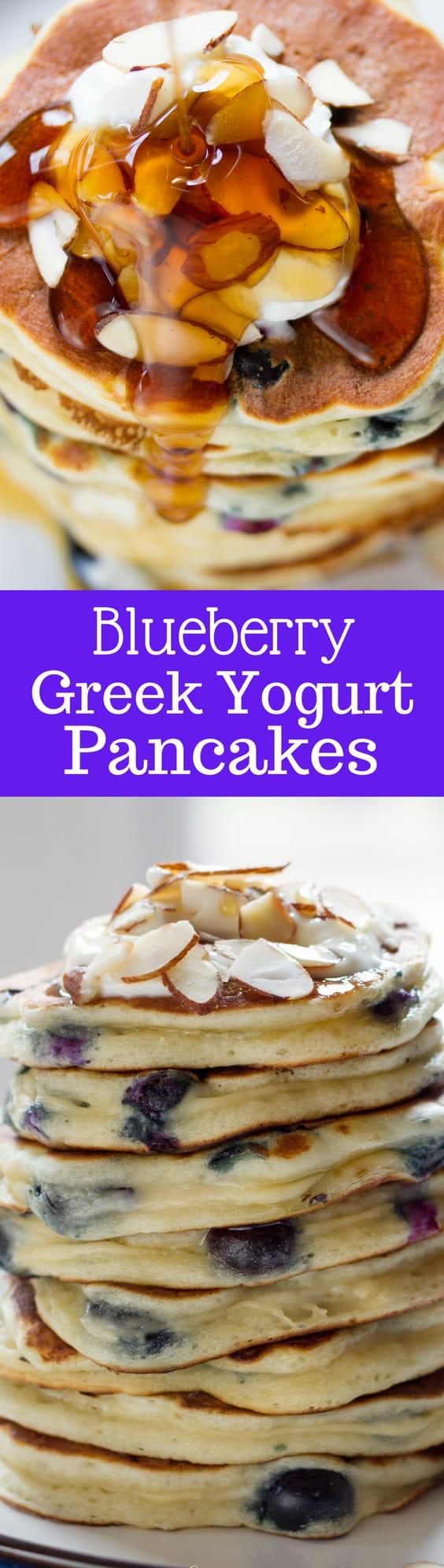 Fluffy Blueberry Greek Yogurt Pancakes ~ stuffed full of juicy ripe blueberries. A great way to start the day! www.savingdessert.com