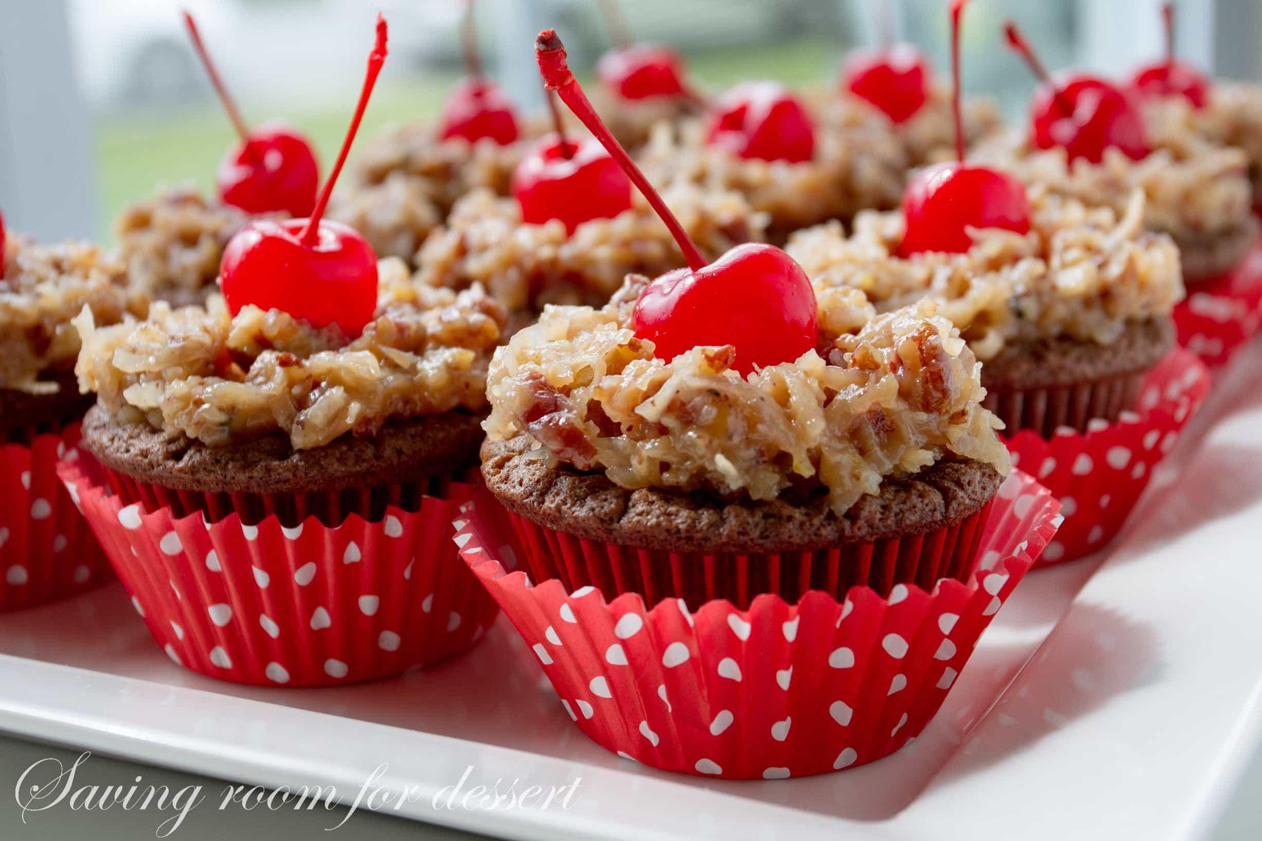 German Chocolate Cupcakes - Saving Room for Dessert
