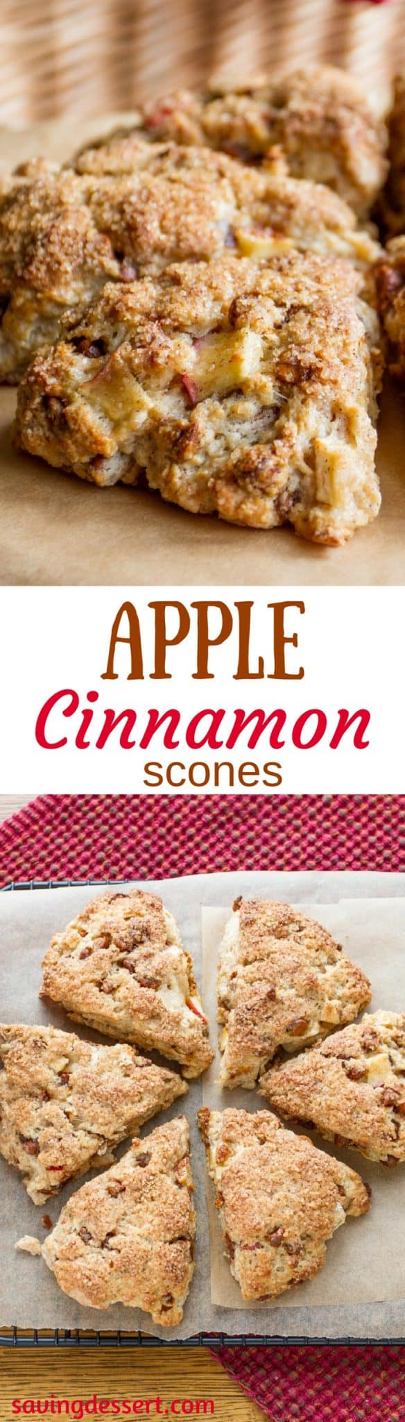 Apple Cinnamon Scones ~ light and fluffy with a crispy sweet crust, large chunks of apple and delicious cinnamon chips!  savingdessert.com #savingroomfordessert #apple #applescones #scones #breakfast