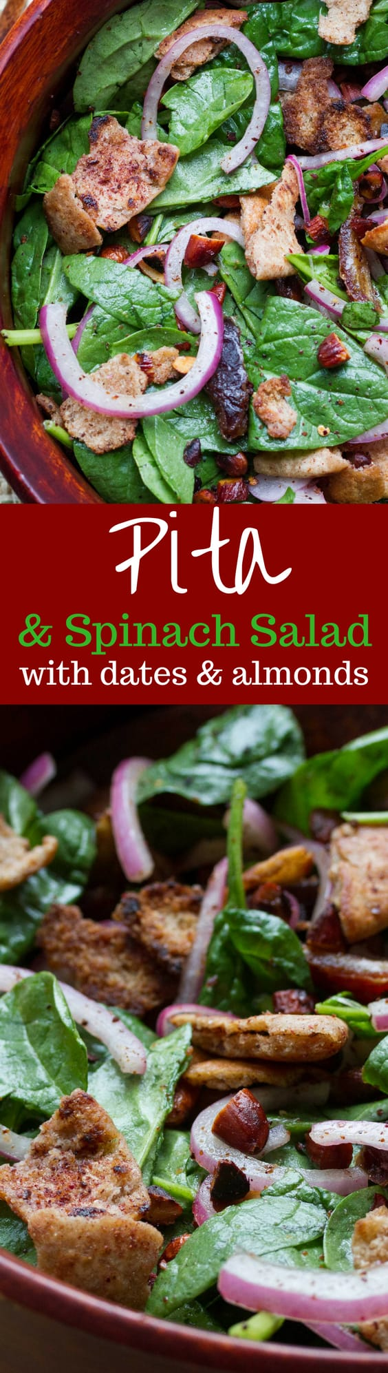 Pita Spinach Salad with Dates and Almonds - one of the best salads ever with a light olive oil dressing and vinegar soaked onions. A must try! www.savingdessert.com