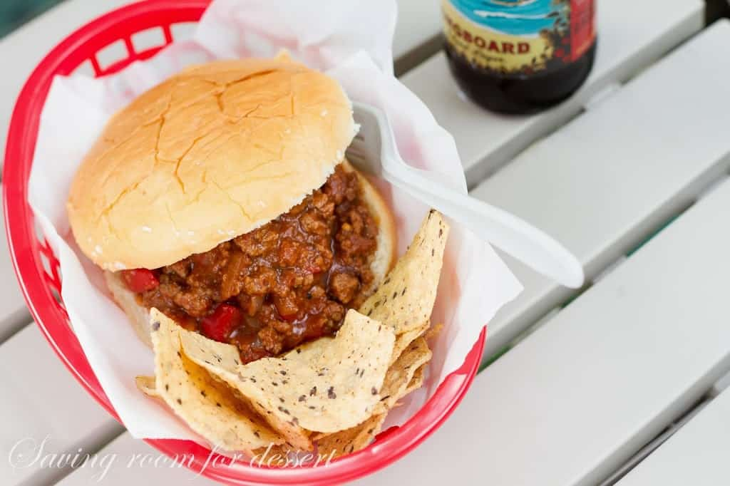 Homemade Sloppy Joes - so easy and delicious with ground beef and peppers in a rich tomato sauce - perfect camping food!  www.savingdessert.com