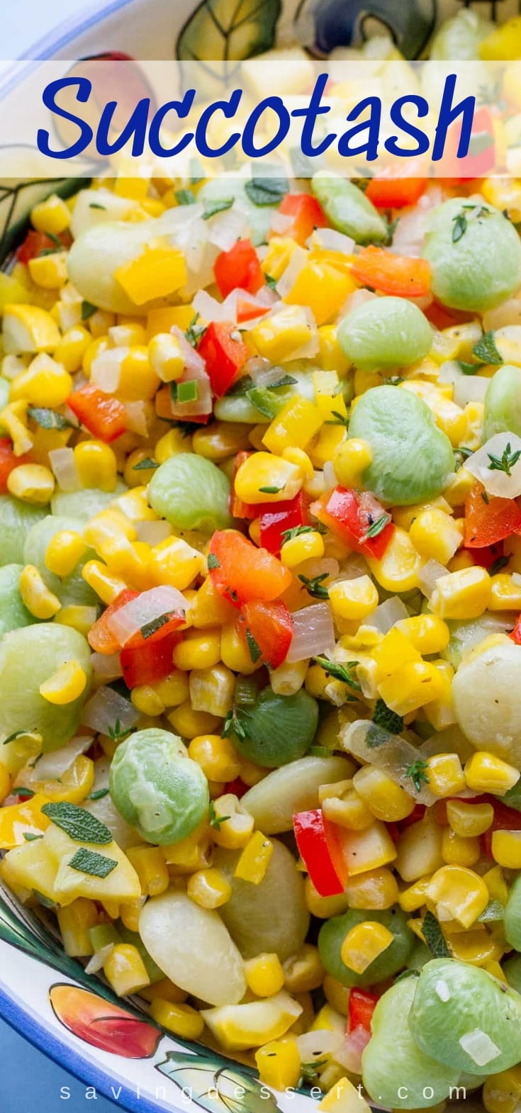 A bowl of fresh summer succotash with corn, beans and peppers