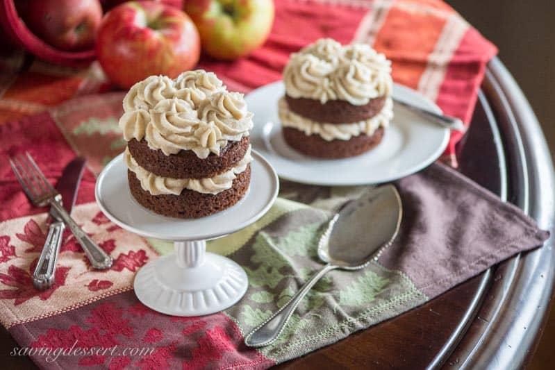 Applesauce Spice Cakes baked up in mini springform pans then iced with Browned Butter Cinnamon Buttercream frosting. savingdessert.com #applesaucespicecake #applesauce #spicecake #cake #minicake #dessert #savingroomfordessert