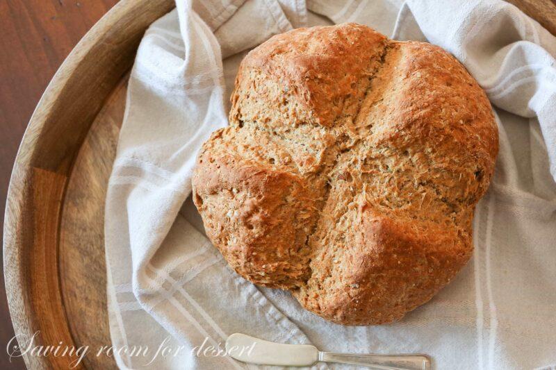 A loaf of brown Irish soda bread