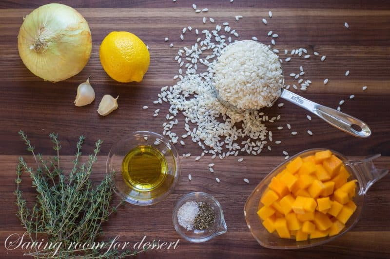 Rice, lemon, garlic, butternut squash and thyme