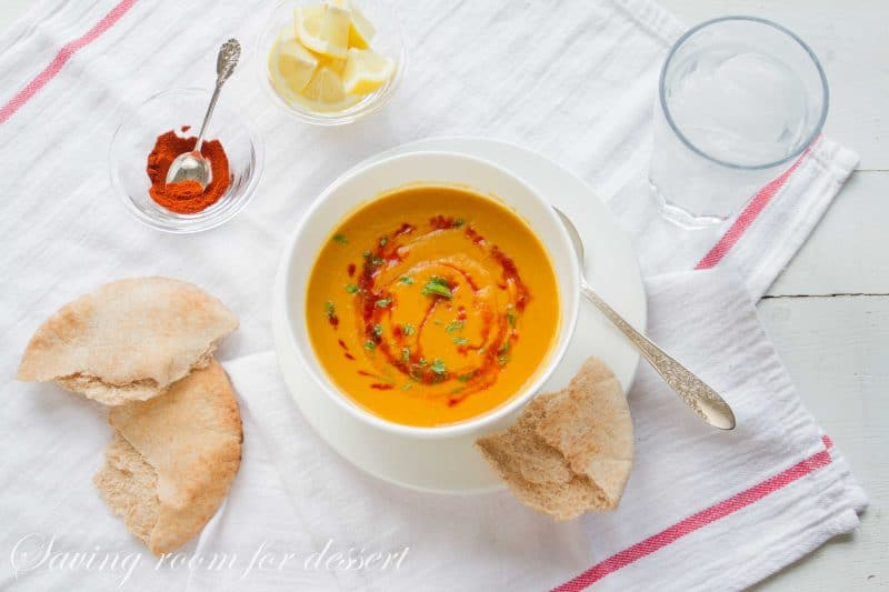 the soup is made primarily amongst fresh vegetables in addition to enough of spice Butternut Squash in addition to Red Lentil Soup (Shorabit Jarjir)
