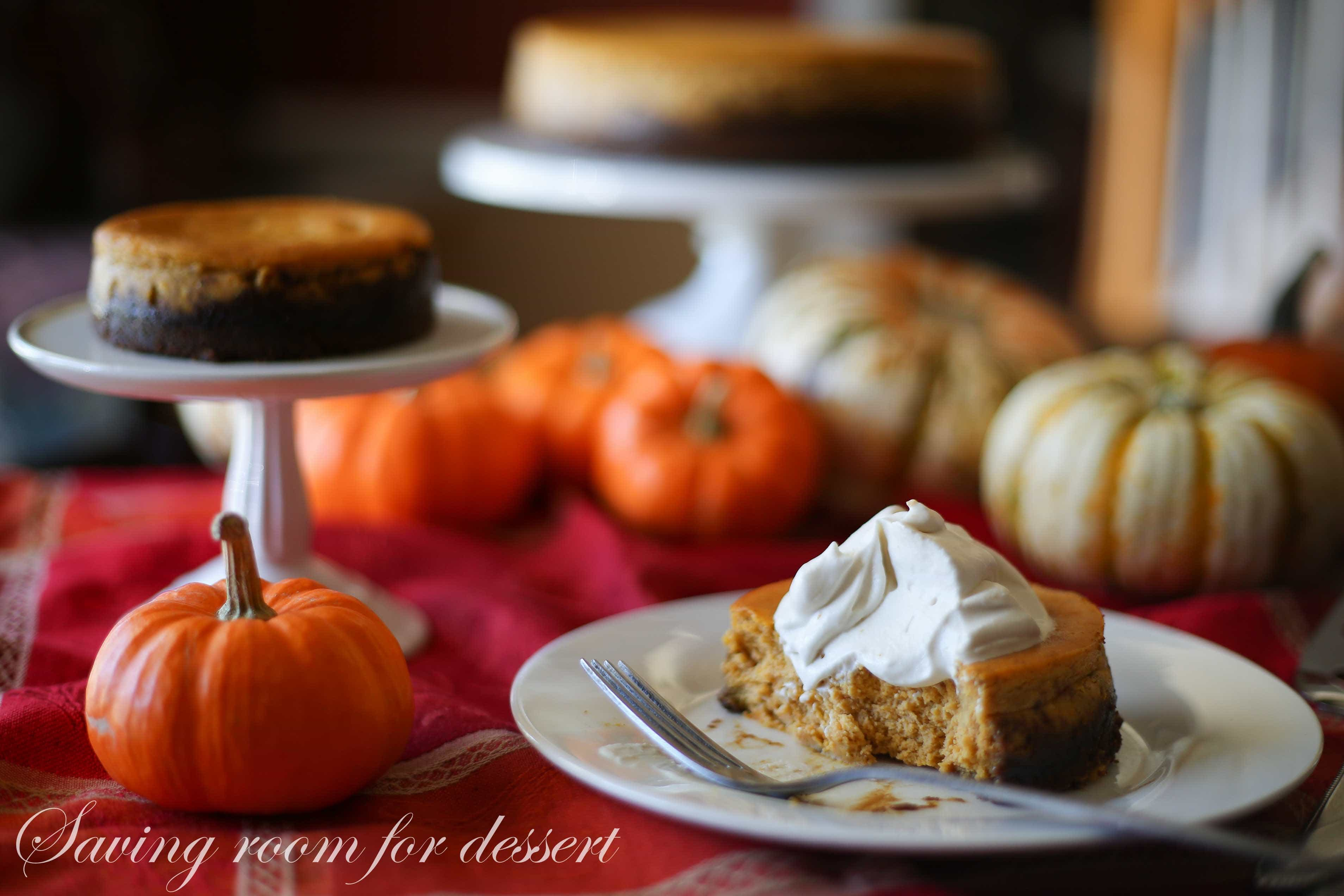 Spiced Pumpkin Cheesecake with Gingersnap Crust - Saving Room for ...