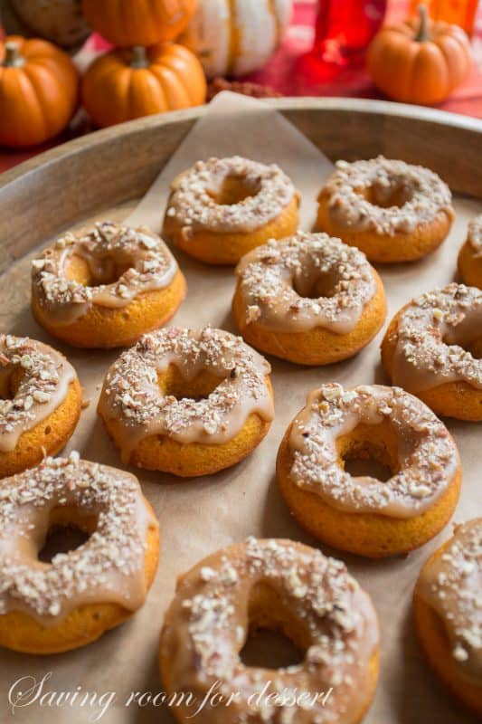 Pumpkin Doughnuts with Caramel Icing & Toasted Pecans