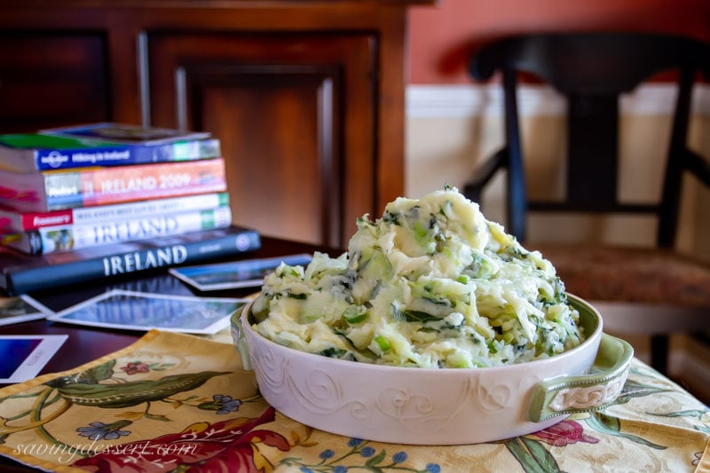 A bowl of traditional Irish colcannon. A dish with potatoes, kale, cabbage and scallions.
