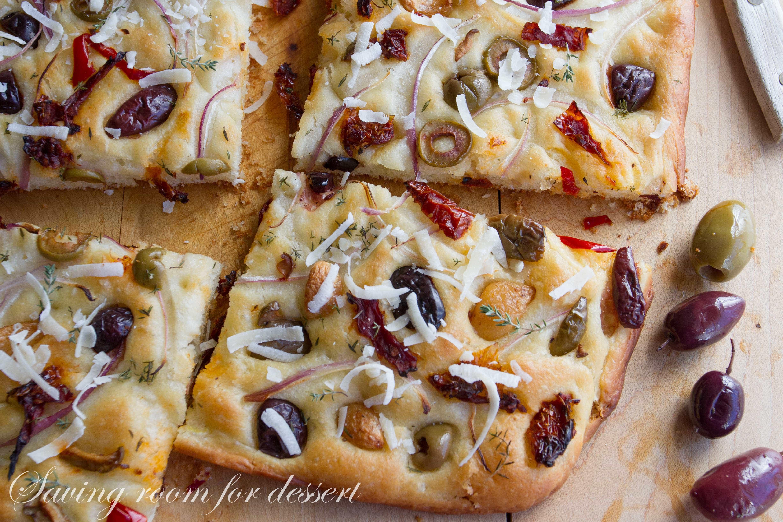 Olive, Onion & Sun Dried Tomato Focaccia - Saving Room for Dessert