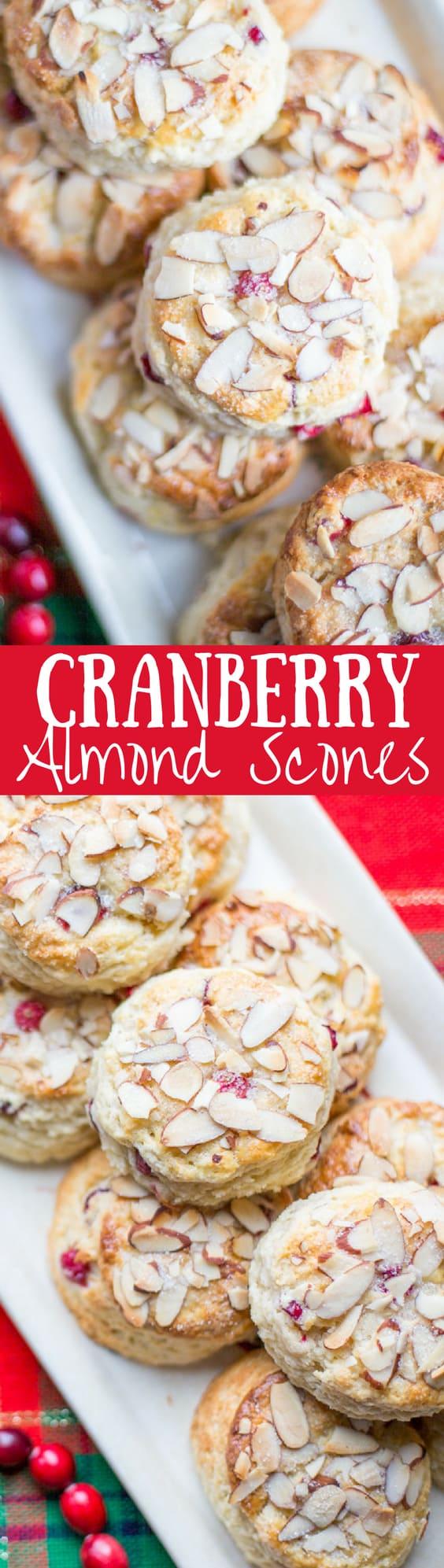Cranberry Almond Scones - lightly sweet with a big almond flavor | www.savingdessert.com