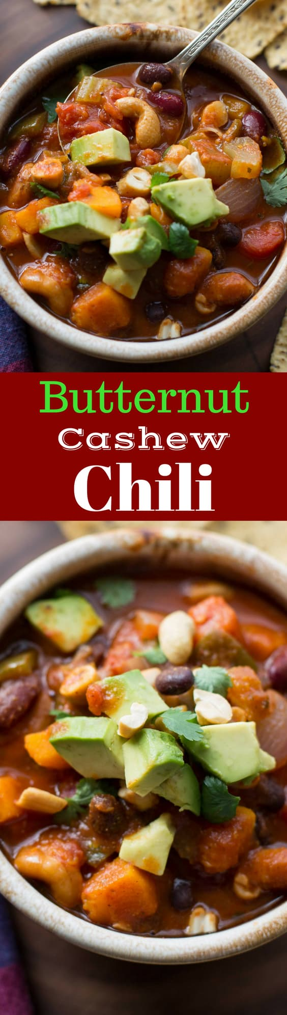 Butternut Cashew Chili ~ A delicious heart healthy, meatless chili with butternut squash and cashew nuts. www.savingdessert.com