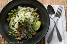 Rice Noodles with Edamame and Cashews