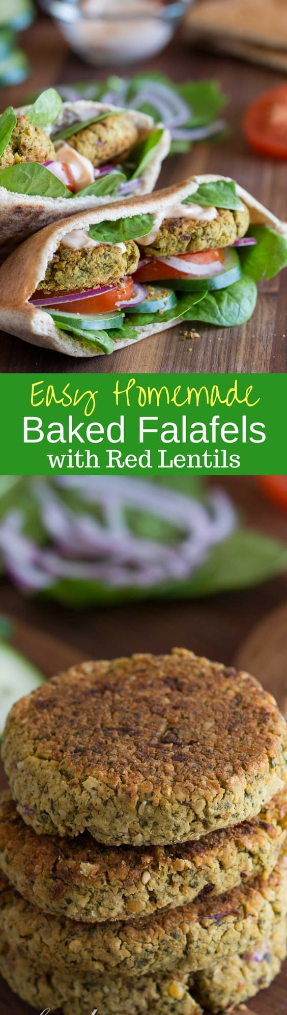 Baked Falafels with Red Lentils -A hearty, healthy meatless grain and bean burger seasoned with the traditional falafel spices. Baked and served in a pita pocket for a richly flavored and spicy weeknight meal. www.savingdessert.com