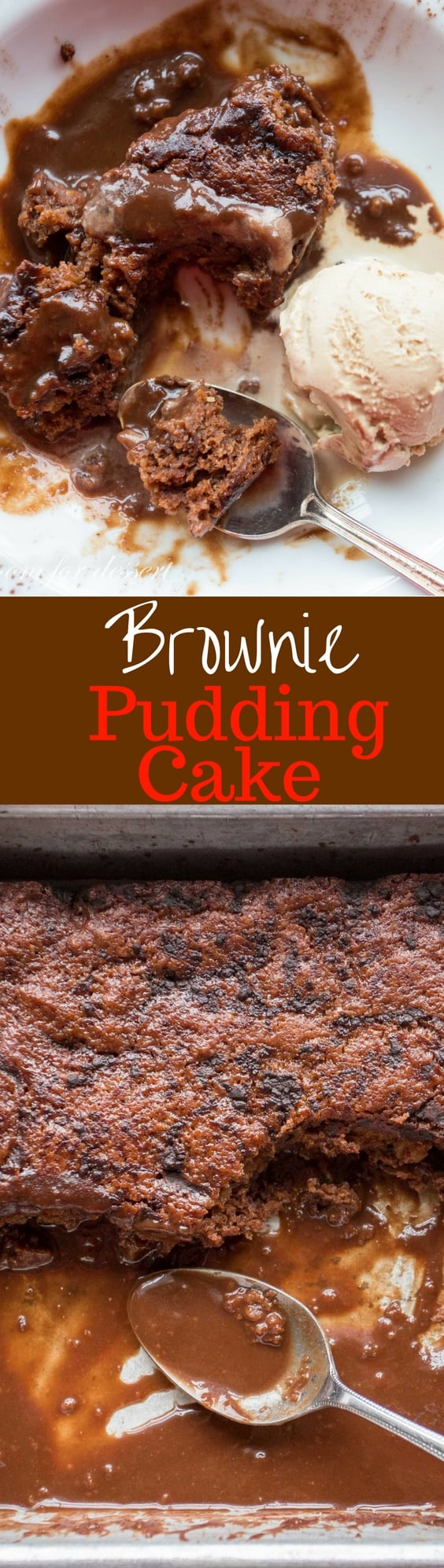 Chocolate brownies sitting on move yesteryear of a warm Chocolate Brownie Pudding Cake