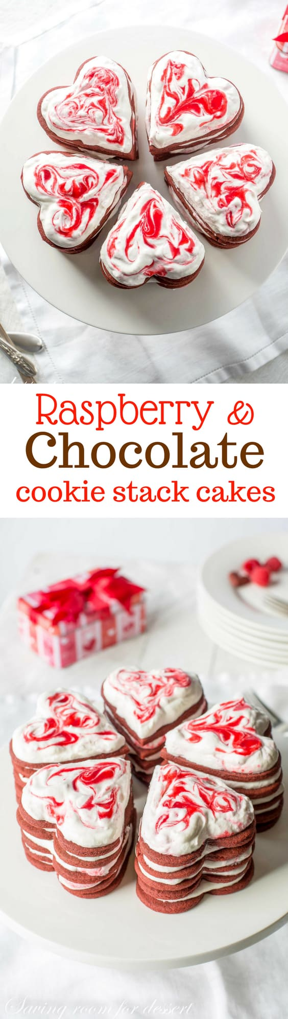 "Raspberry & Chocolate Cookie Stack Cakes ~ Chocolate cut-out cookies are layered between dollops of sweetened whipped cream swirled with raspberry puree then refrigerated for 24 hours. The cookies become soft and ""cake-like"" and taste amazing! www.savingdessert.com"