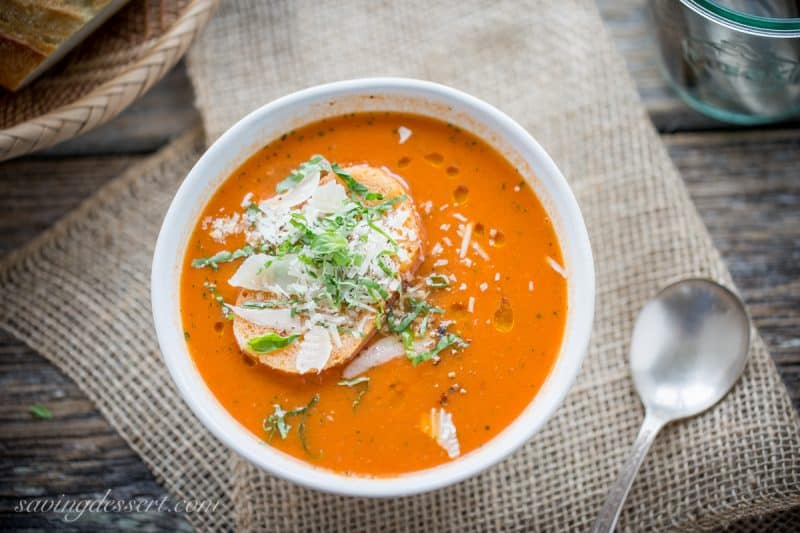 Roasted Tomato Basil Soup in a bowl