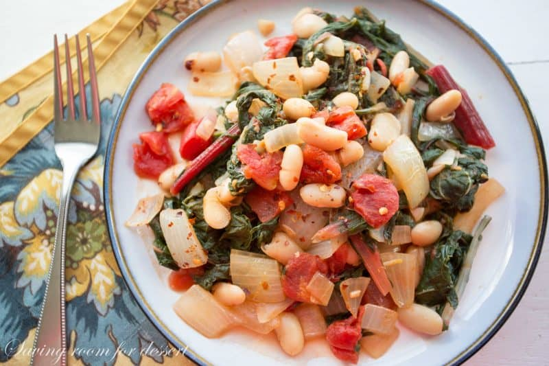 to love kale in addition to flora it a footling rubbery in addition to tough in addition to spinach a footling wimpy Swiss Chard  White Bean Stew amongst Onions  Tomatoes