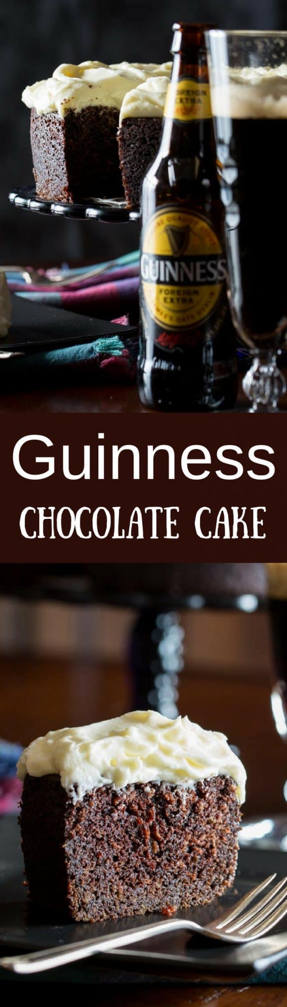 Guinness Chocolate Cake - A lightly sweet and moist chocolate cake, with wonderfully interesting spicy notes from the stout Guinness Foreign Extra Beer. Perfect for St. Patrick's Day or for the chocolate lover in your home! www.savingdessert.com