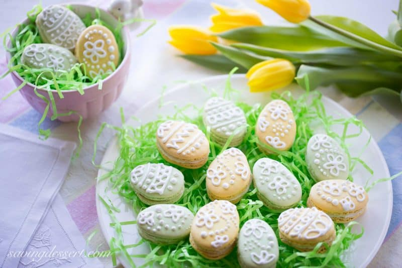 Easter Egg Macarons with White Chocolate-Mint Ganache ~ from www.savingdessert.com