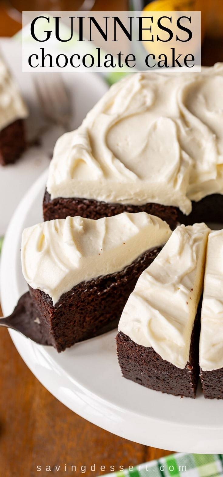 A sliced Guinness Chocolate Cake on a platter