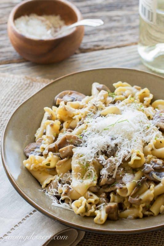 Campanella Pasta with a rich Mushroom Wine Sauce | savingdessert.com