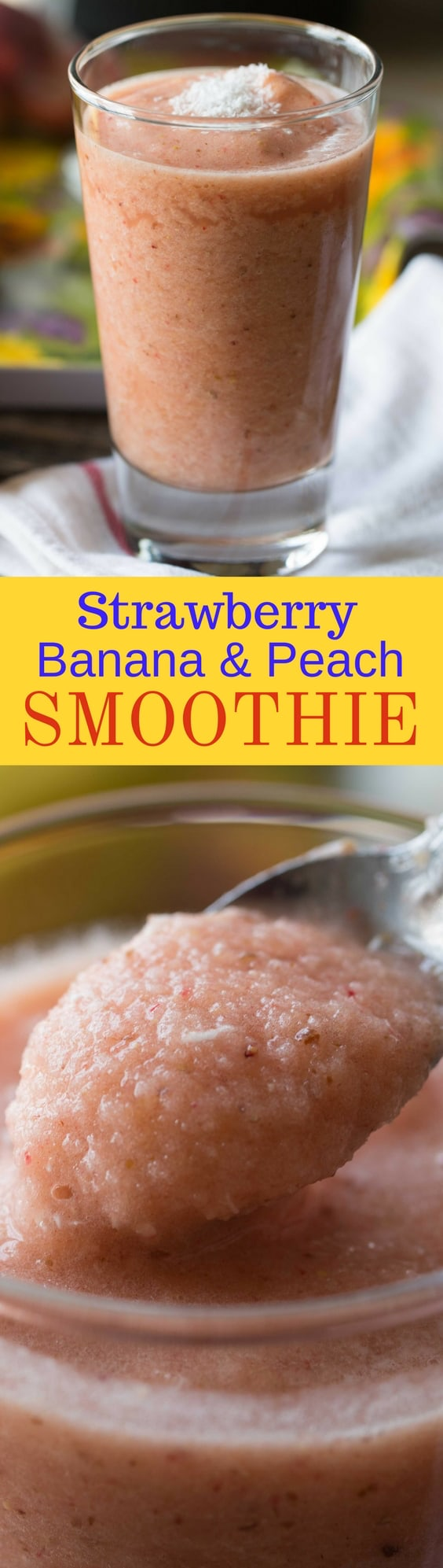 Strawberry, Banana & Peach Smoothie - Healthy, sweet, refreshing and satisfying - frozen fruit smoothies are the perfect treat! www.savingdessert.com