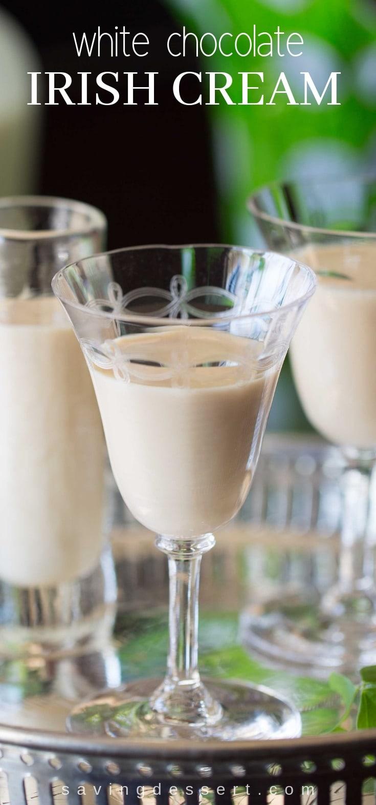 White Chocolate Irish Cream - Creamy, dreamy, smooth and delicious! A wonderful after dinner drink that tastes like dessert! #Irish #Irishcream #whitechocolate #cordial #afterdinner #beverage #cocktail #stpatricksday
