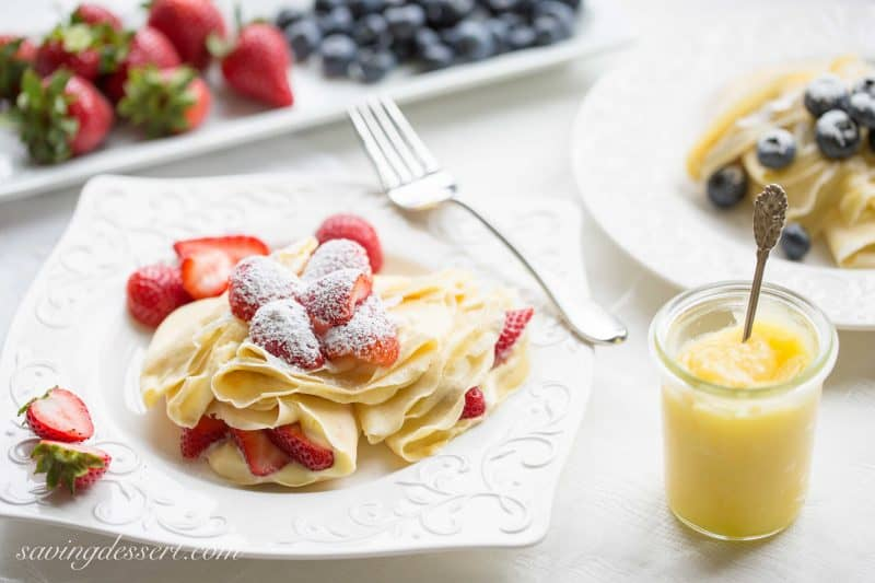 Crepes with Lemon Curd Whipped Cream - Perfectly fresh fruit served ...