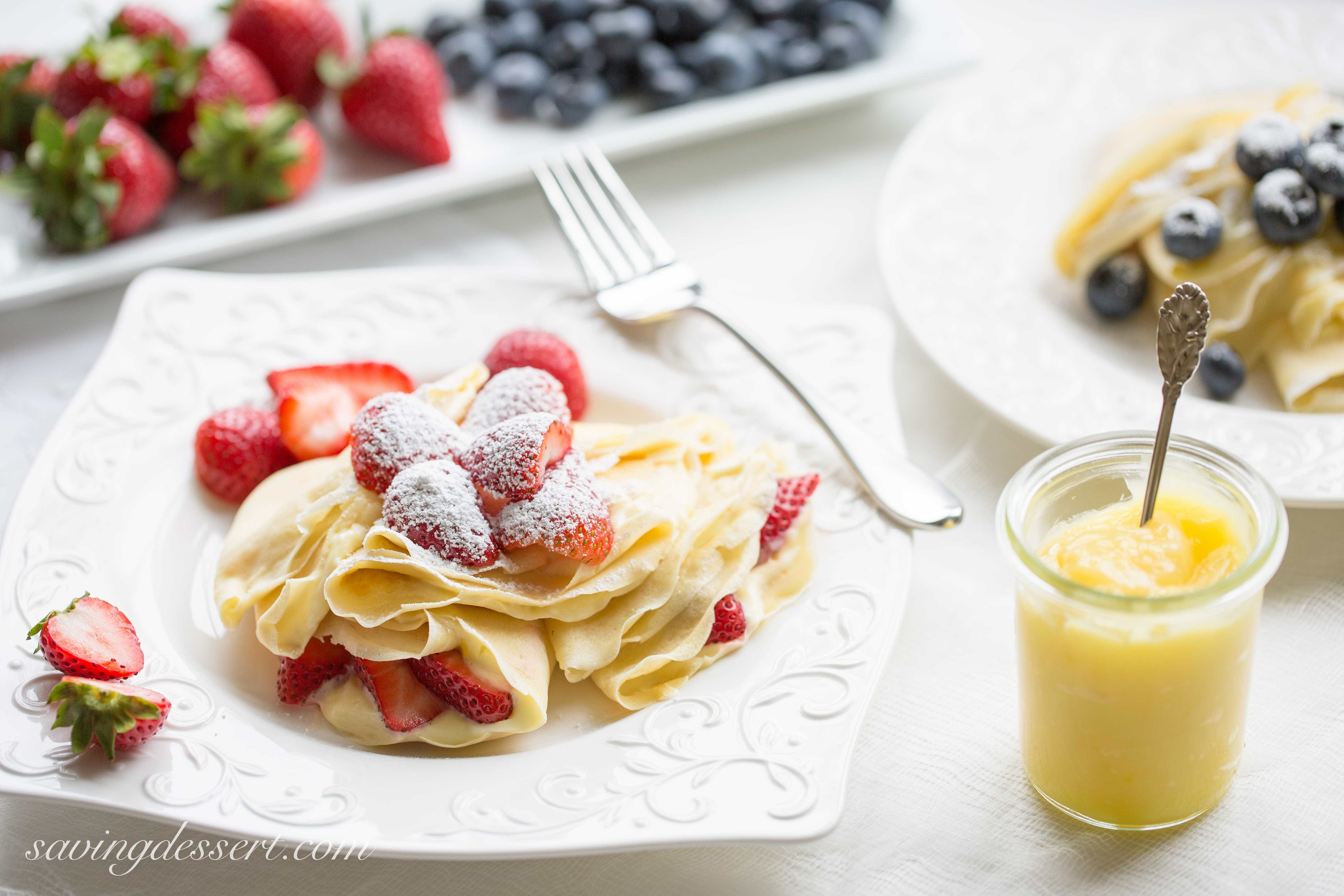 Crepes with Lemon Curd Whipped Cream - Saving Room for Dessert